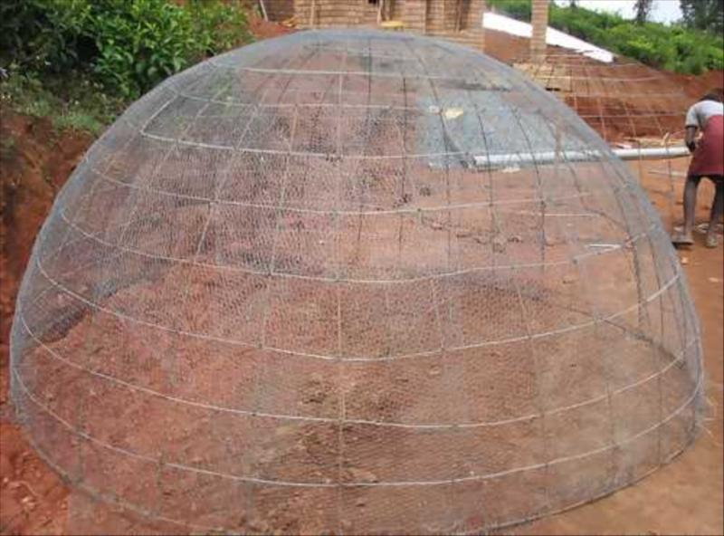 Mesh for dome of Ferro-cement Goabr Gas plant at Acres Wild Organic Cheesemaking Farm, Coonoor, India